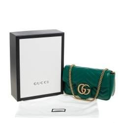 Gucci Green Matelasse Leather Mini GG Marmont Super Bag