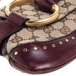 Gucci Beige/Burgundy GG Canvas and Leather Horsebit Chain Clutch