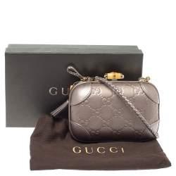 Gucci Metallic Purple Guccissima Leather Broadway Bamboo Lock Clutch