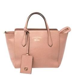 Gucci Pink Leather Mini Swing Tote