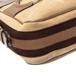 Gucci Beige/Brown Leather Medium Web Horsebit Heritage Hobo