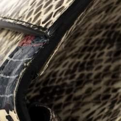 Gucci Beige Snakeskin Medium Lilith Bamboo Top Handle Bag