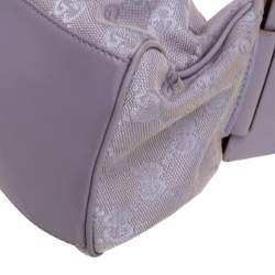 Gucci Lavender GG Canvas and Leather Zip Hobo