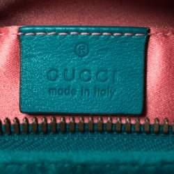 Gucci Turquoise Matelassé Velvet GG Marmont Belt Bag