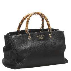 Gucci Black Leather Bamboo Shopper Bag