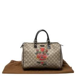 Gucci Beige/Brown Heart Tattoo GG Supreme Canvas and Leather Medium Joy Boston Bag