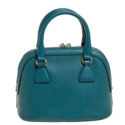 Gucci Teal Blue Leather Interlocking GG Charm Satchel