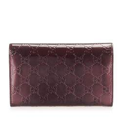 Gucci Red Guccissima Leather Lovely Heart Continental Wallet