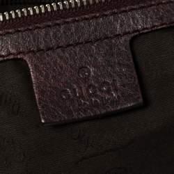 Gucci Burgundy Leather Medium Bamboo Bar Satchel