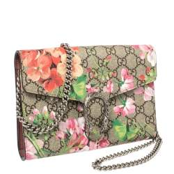 Gucci Multicolor GG Supreme Blooms Canvas and Leather Dionysus Wallet On Chain