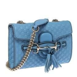 Gucci Blue Mircoguccissima Leather Mini Emily Chain Shoulder Bag