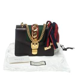 Gucci Black Leather Mini Web Chain Sylvie Shoulder Bag
