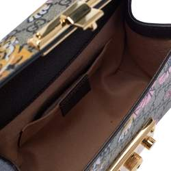 Gucci Multicolor GG Supreme Bengal Canvas and Leather Small Padlock Shoulder Bag