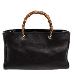 Gucci Black Leather Medium Bamboo Shopper Tote