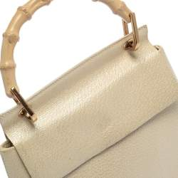 Gucci Ivory Leather Vintage Bamboo Top Handle Bag