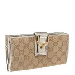 Gucci Beige/Metallic Gold GG Canvas Abbey D Ring Wallet