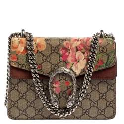 Gucci Multicolor GG Supreme Blooms Canvas and Suede Mini Dionysus Shoulder Bag