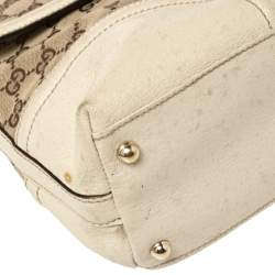 Gucci White/Beige GG Canvas And Leather Large Treasure Flap Shoulder Bag