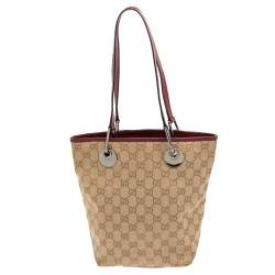 Gucci Beige/Red GG Canvas And Leather Eclipse Tote