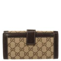 Gucci Beige/Brown GG Canvas and Leather Continental Wallet