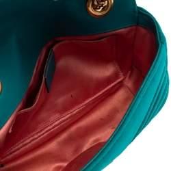 Gucci Teal Matelasse Velvet Mini GG Marmont Shoulder Bag