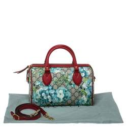 Gucci Red/Blue GG Blooms Supreme Canvas Boston Bag