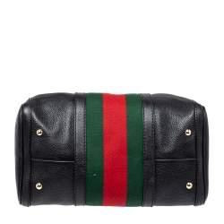 Gucci Black Leather Medium Vintage Web Joy Boston Bag