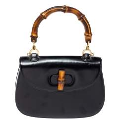 Gucci Black Leather Small Bamboo Top Handle Bag