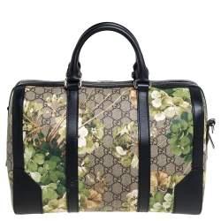 Gucci Green/Black GG Blooms Supreme Canvas and Leather Medium Boston Bag