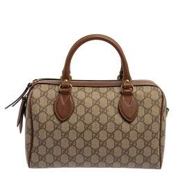 Gucci Beige/Brown GG Supreme Canvas and Leather Floral Embroidered Boston Bag