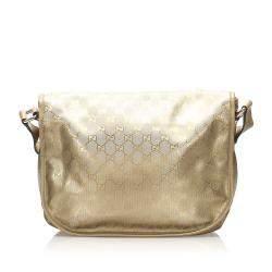 Gucci Gold GG Imprime Canvas Crossbody Bag