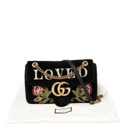 Gucci Black Velvet Small Embroidered GG Marmont Shoulder Bag