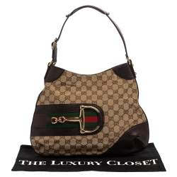 Gucci Beige/Brown GG Canvas and Leather Hasler Hobo