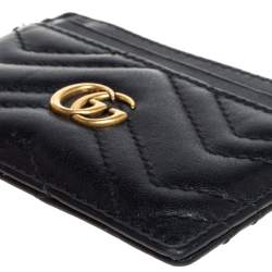 Gucci Black Leather GG Marmont Card Holder