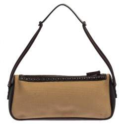Gucci Beige/Brown Canvas and Leather Vintage Shoulder Bag