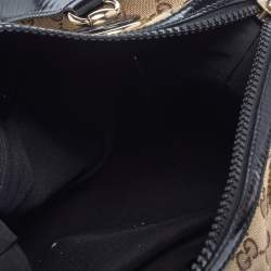 Gucci Brown/Black GG Canvas and Patent Leather Satchel
