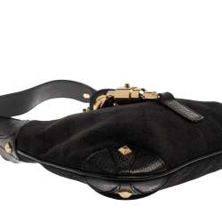 Gucci Black GG Canvas and Leather Small Jackie Nailhead Hobo