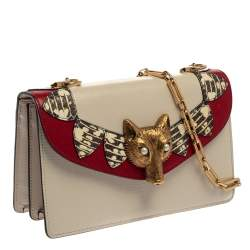 Gucci Cream White Leather and Python Broche Magic Lanterns Fox Shoulder Bag