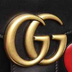 Gucci Black Leather GG Marmont Shoulder Bag