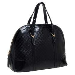 Gucci Black Microguccissima Patent Leather Small Nice Bag