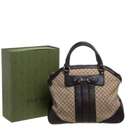 Gucci Beige/Brown Diamante Canvas and Leather Large Horsebit Catherine Satchel