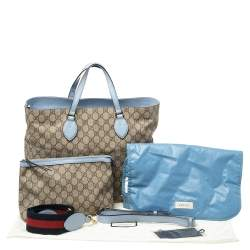 Gucci Beige/Blue GG Supreme Canvas and Leather Diaper Bag