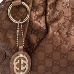 Gucci Metallic Gold Guccissima Leather Medium Sukey Tote