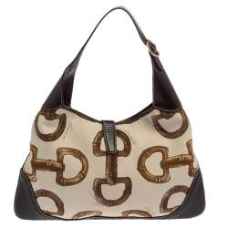 Gucci Brown/Cream Horsebit Print Canvas and Leather Jackie O Hobo