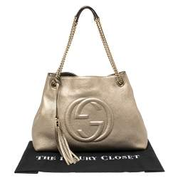 Gucci Light Gold Grain Leather Medium Soho Chain Tote