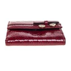 Gucci Red Microguccissima Patent Leather Bow Heart Compact Wallet