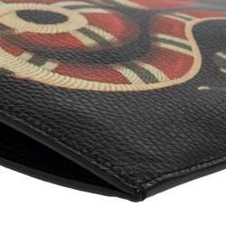 Gucci Black Leather Kingsnake Print Clutch Bag