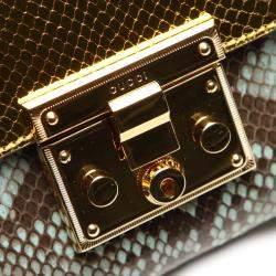 Gucci Gold Medium Padlock Python Leather Crossbody Bag