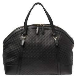 Gucci Black Micro Guccissima Leather Nice Satchel