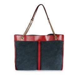 Gucci Navy Blue Suede & Red Calfskin Leather Large Rajah Tote Bag